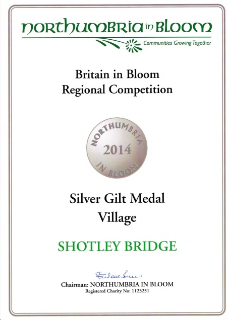 Blooming Shotley Bridge Silver Gilt Certificate 2014