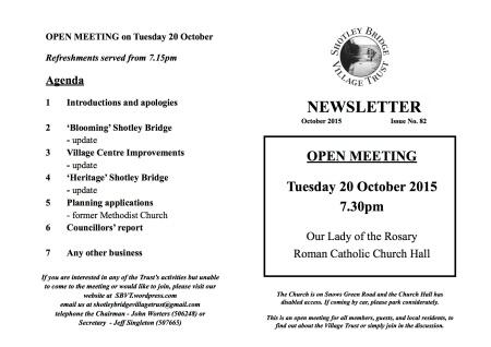 Open meeting agenda - 20 October 15